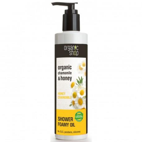 Penivý sprchový olej Kamilka a Med (280 ml), ORGANIC SHOP